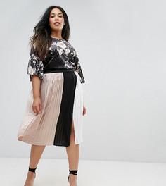 Плиссированная юбка в стиле колор блок с разрезом Elvi - Мульти