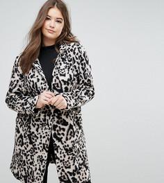 Шерстяное пальто с леопардовым принтом Elvi - Мульти