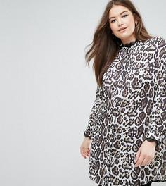Удлиненная рубашка с леопардовым принтом Elvi - Мульти