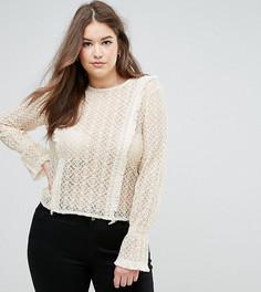 Кружевная блузка с запахом и расклешенными рукавами Elvi - Кремовый