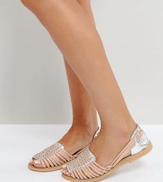 Плетеные кожаные туфли для широкой стопы ASOS JOEL - Бежевый