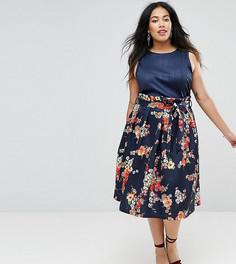 Темно-синяя юбка для выпускного с цветочным принтом ASOS CURVE - Мульти