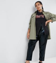 Виниловые широкие брюки со складками ASOS CURVE - Черный