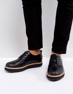 Черные кожаные туфли на толстой подошве Zign - Черный