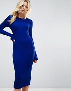 Облегающее платье миди в рубчик ASOS - Темно-синий