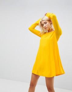 Свободное платье мини с декоративными швами и рукавами клеш ASOS - Желтый