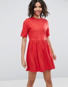 Хлопковое платье мини с присборенной юбкой ASOS - Красный