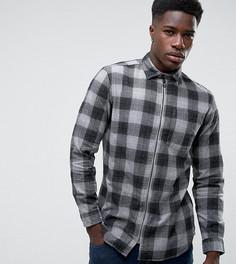 Рубашка классического кроя в клетку с молнией Jack & Jones Originals - Серый