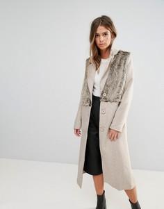 Пальто со вставками из искусственного меха Glamorous - Кремовый