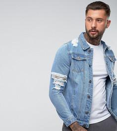 Рваная джинсовая куртка Liquor N Poker - Синий