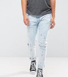 Выбеленные зауженные джинсы с принтом Liquor N Poker - Синий