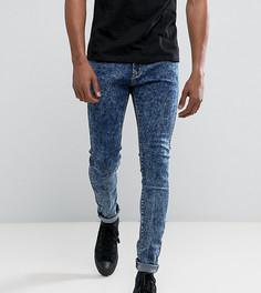 Синие зауженные джинсы с эффектом кислотной стирки Liquor N Poker - Синий