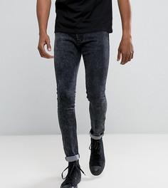 Серые джинсы скинни с эффектом кислотной стирки Liquor N Poker - Серый