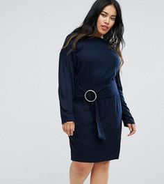 Вязаное платье с рукавами летучая мышь и кольцами ASOS CURVE - Темно-синий