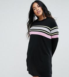 Свободное вязаное платье в полоску ASOS CURVE - Мульти