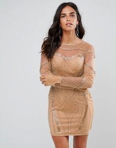 Облегающее платье с длинными рукавами и отделкой Forever Unique - Золотой