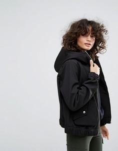 Куртка на молнии с капюшоном и большими карманами Dr Denim - Черный