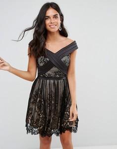 Кружевное платье мини с вырезом лодочкой Forever Unique - Черный