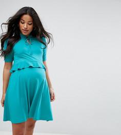 Двухслойное приталенное платье с оборками ASOS Maternity NURSING - Зеленый