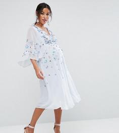 Платье-кимоно миди с отделкой ASOS Maternity - Синий