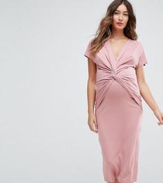 Платье с декоративным узелком ASOS Maternity NURSING - Розовый