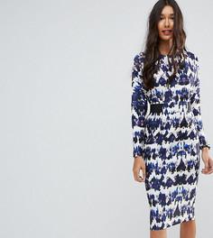 Платье миди с эластичным поясом и принтом ASOS TALL - Мульти
