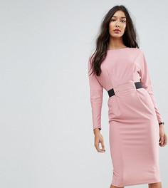 Платье миди с эластичной вставкой на талии ASOS TALL - Розовый