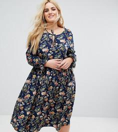 Платье миди с завязкой, длинными рукавами клеш и цветочным принтом Alice & You - Мульти