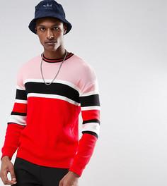 Джемпер в рубчик с красными и розовыми полосками ASOS TALL - Красный