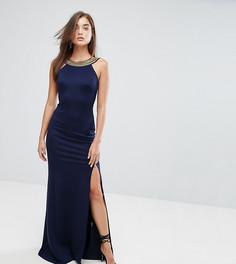 Платье макси с высоким воротом и отделкой TFNC - Темно-синий