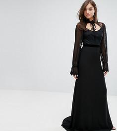 Платье макси с длинными кружевными рукавами и бархатной отделкой TFNC - Черный