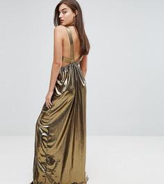 Платье макси с V-образным вырезом и плиссированными вставками на спине TFNC - Золотой