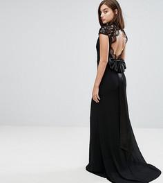 Платье макси с воротником-стойкой, кружевным топом и фактурной отделкой на спине TFNC - Черный