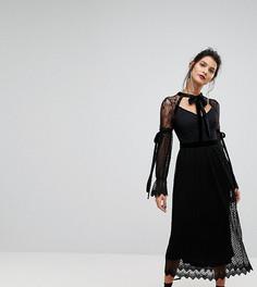 Кружевное платье миди с длинными рукавами, плиссировкой и бархатной завязкой TFNC - Черный