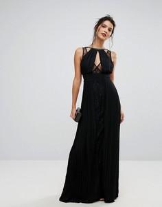 Платье макси с высоким воротом, отделкой и кружевными вставками TFNC - Черный