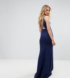 Платье макси с высоким воротом и отделкой на спине TFNC Tall - Темно-синий