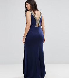 Платье макси с высоким воротом и отделкой TFNC Plus - Темно-синий