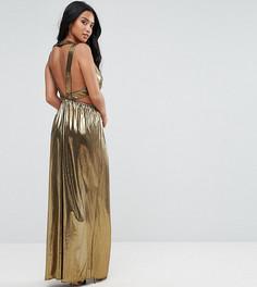 Платье макси с V-образным вырезом и плиссированными вставками на спине TFNC Petite - Золотой