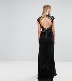 Платье макси с высоким воротом, кружевным топом и фактурной отделкой на спине TFNC Tall - Черный
