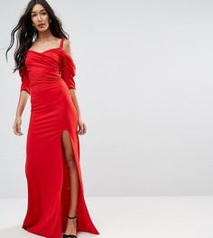 Платье макси в стиле 80-х с открытыми плечами TFNC Tall - Красный