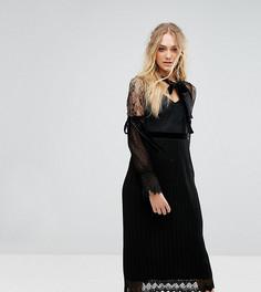 Платье миди с длинными рукавами, кружевом и бархатной отделкой TFNC Tall - Черный