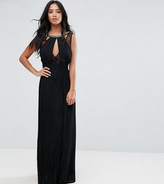 Платье макси с высоким воротом, отделкой и кружевными вставками TFNC Petite - Черный