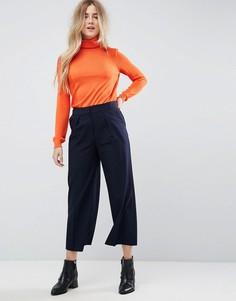 Укороченные брюки с заниженной талией ASOS Tailored - Темно-синий