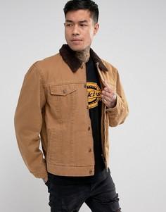 Куртка с воротником из искусственной цигейки Dickies Glenside - Коричневый