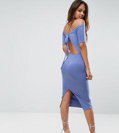 Платье миди с открытыми плечами и бантом на спине Oh My Love Tall - Синий