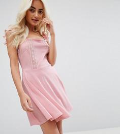 Кружевное короткое приталенное платье Miss Selfridge Petite - Розовый