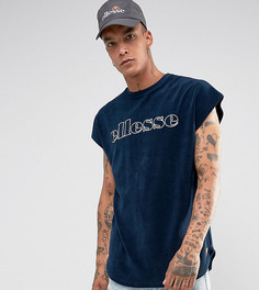 Темно-синяя махровая футболка Ellesse - Темно-синий