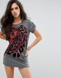Платье-футболка с логотипом и бархатной отделкой Versace Jeans - Серый