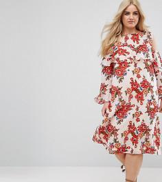 Платье миди с цветочным принтом и разрезами на плечах Boohoo Plus - Мульти