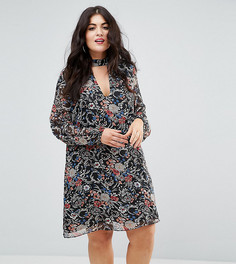 Свободное платье с высоким воротом и вырезом Boohoo Plus - Мульти